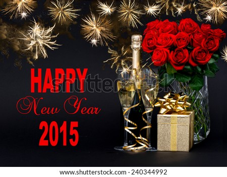Happy New Year 2015! card concept. red roses, bottle of champagne, golden gift with beautiful golden fireworks on black background - stock photo