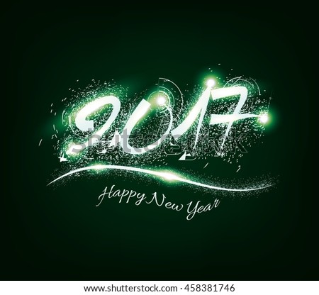 Happy New Year 2017 celebration background with shiny text, fireworks in night background - stock photo