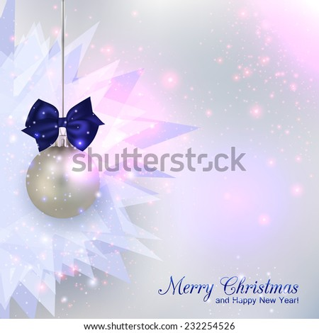 Happy New Year 2015 celebration concept with silver ball over shining chrystal background and place for text. Abstract background.
