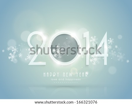 Happy New Year 2014 celebration flyer, banner, poster or invitation with stylish text on snowflakes decorated blue background. - stock photo