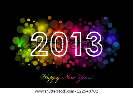 Happy New Year - 2013 colorful background - stock photo
