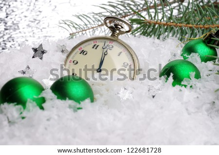 Happy New Year. Composition with old clock and balls