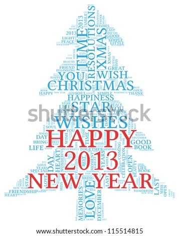 Happy New Year 2013 concept greeting card in tag cloud on white background