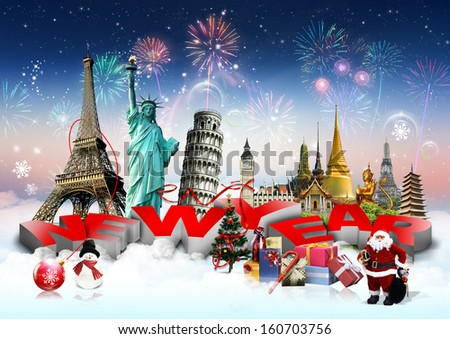 Happy New Year concept on travel background - stock photo