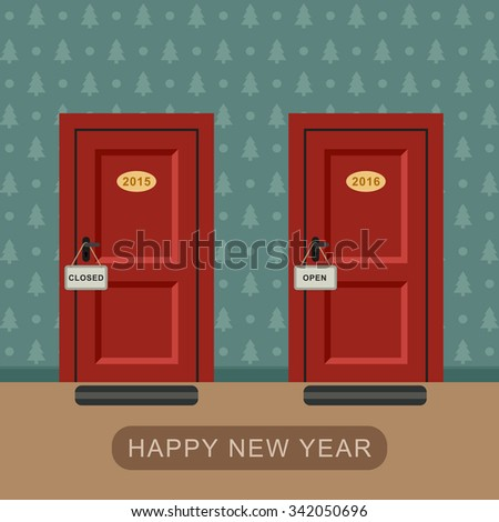 Happy new 2016 year concept with two doors symbolizing the year. Raster version. - stock photo