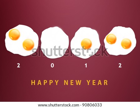 Happy new year 2012, conceptual images Fried eggs creating 2012 year number. - stock photo