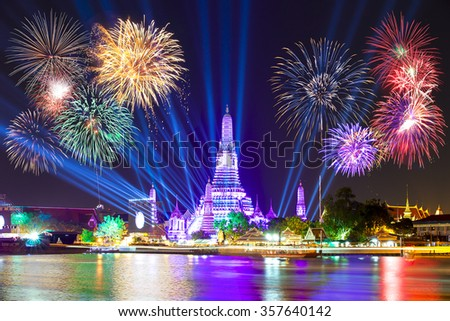 Happy new year 2016,Countdown 2016 at Wat ArunTemple,Fireworks,Wat Arun at a light,Bangkok,Thailand
