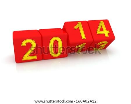 Happy New Year 2014. 3d - stock photo