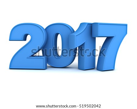 Happy new year 2017 3D blue text isolated over white background with reflection and shadow. 3D rendering.