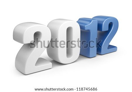 Happy new year 2012. 3D calendar isolated on white