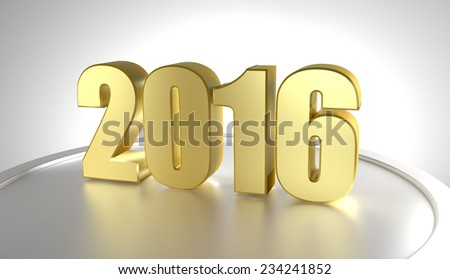 Happy new year 2016. 3D golden numbers. Render - stock photo
