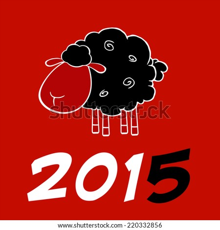 Happy New Year 2015 Design Card With Black Sheep And Black Number. Raster Illustration