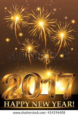 Happy New Year 2017 Elegant Background With Fireworks