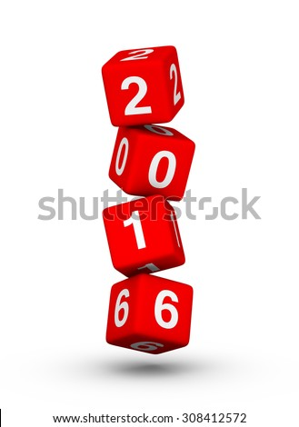Happy New Year 2016. Falling cubes.