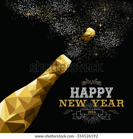 Happy new year 2016 fancy gold champagne bottle in hipster triangle low poly style. Ideal for greeting card or elegant holiday party invitation.  - stock photo