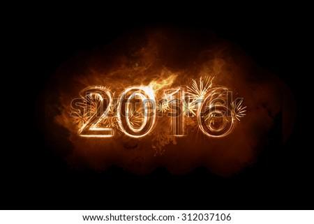 happy new year - fire - stock photo