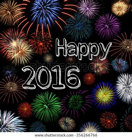 happy new year 2016 firework wish  - stock photo