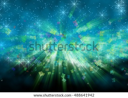 Happy new year 2017 flying digits numbers written with light on bright bokeh background. 3d illustration.