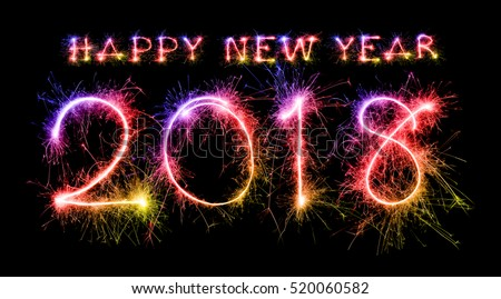 new year 2018 stock images royalty free images vectors happy new year 2018 from colorful sparkle on black background