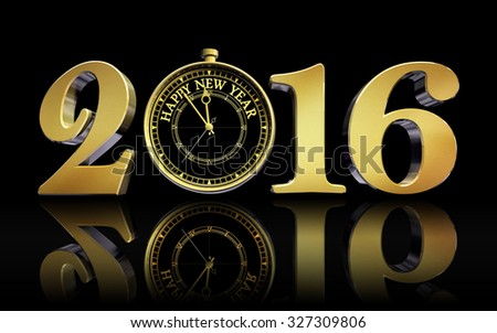 happy new year 2016 gold clock concept business card on black background - stock photo