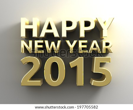 Happy new year 20015 - Gold 3D - template background