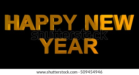 happy new year golden 3d letters isolated on black