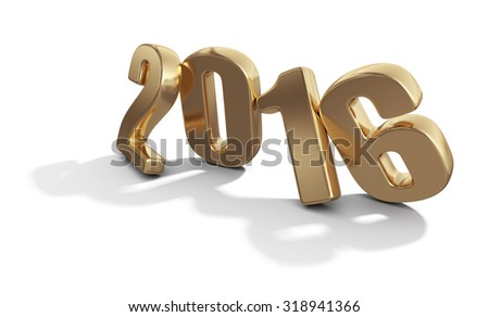 Happy New Year 2016. Golden 3D numbers isolated on white background