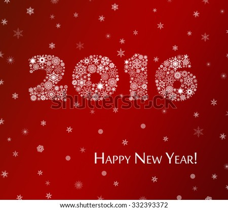 Happy New Year 2016 greeting card. Christmas snow background. - stock photo