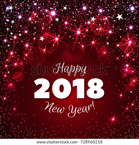 happy new year 2018 greeting card stock illustration 728960218