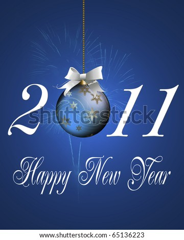 Happy New Year greeting card of background. - stock photo