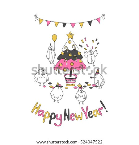Happy New Year greeting card with cartoon funny birds. Hand draw  illustration. Trendy colors. Glitter gold, pink gray.