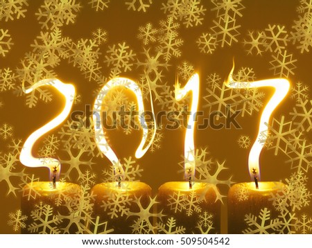 Happy new year 2017 greetings card - snowflakes