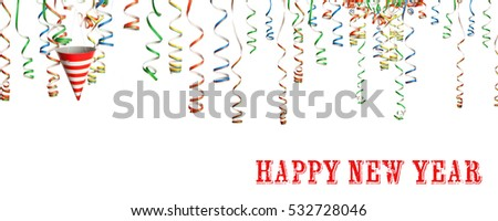 Happy new year greetings with party streamers and hat, isolated on white background