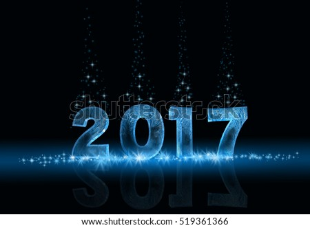 Happy new year 2017. Icy numbers on the dark background with the spirkles.