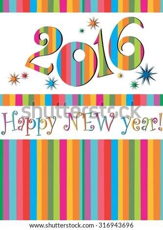 Happy new year 2016!  illustration - stock photo