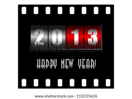 happy new year illustration with counter - stock photo