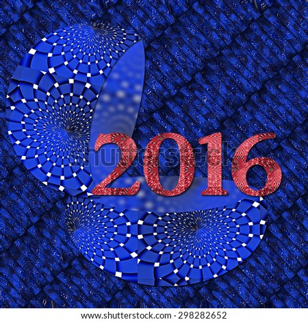 Happy New Year 2016 in blue - stock photo