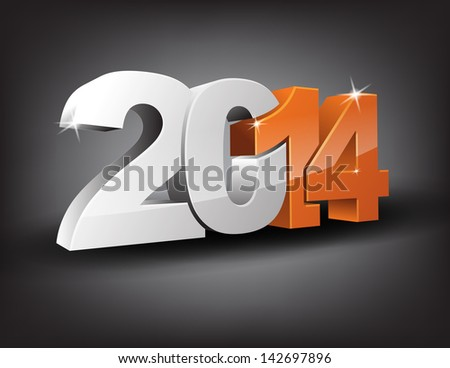 Happy new year 2014 in 3D with orange 14 and grey 20. (Raster) - stock photo
