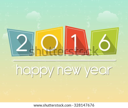 happy new year 2016 in flat colored tablets over cloudy sky background, holiday seasonal concept