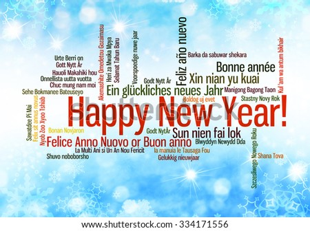 Happy New Year in many different languages. Words cloud  - stock photo
