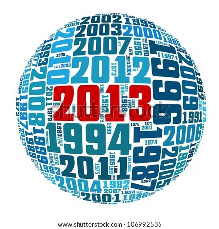 Happy New Year 2013 in number collage - stock photo