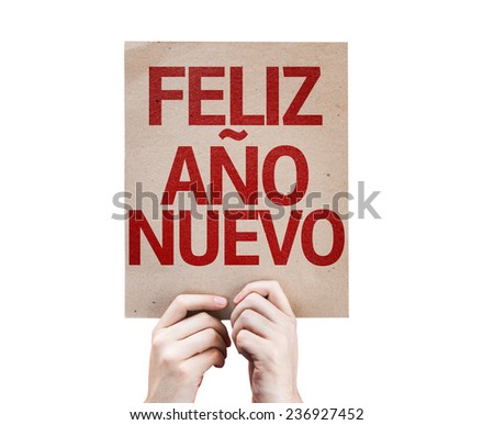 Happy New Year (in Spanish) card isolated on white background - stock photo