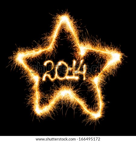 Happy New Year - 2014 in star made a sparkler on black background - stock photo