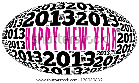 Happy new year 2013 info-text graphics arrangement on white background - stock photo