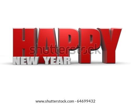 Happy new year - isolated - stock photo