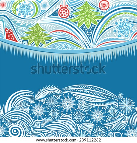 Happy new year merry christmas card illustration - stock photo
