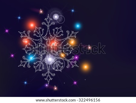 Happy new year merry christmas elegant greeting card or poster design with snowflake star and unfocused light wallpaper background. - stock photo