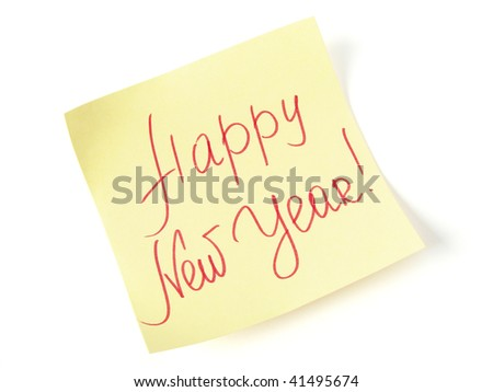 Happy new year message on yellow sticker