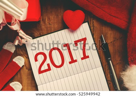 Happy New 2017 year note with copy space, top view.