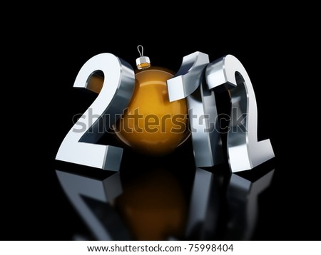happy new year 2012 on black background - stock photo